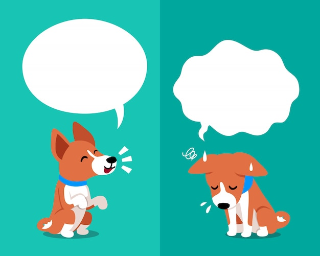 Basenji dog expressing different emotions with speech bubbles