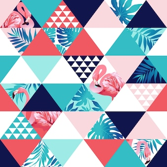Basexotic beach trendy seamless pattern, patchwork illustrated floral