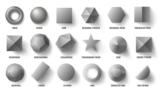 Basic 3d shapes top view. realistic pyramid shape, geometric polygon figures and hexagon symbol concept