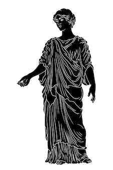 Basic ancient greek young woman in a tunic and cape stands looks away and gestures.