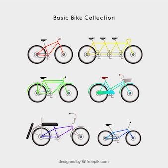 Basic bike collection with flat design
