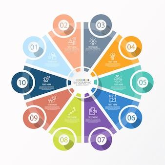 Базовый круговой инфографический шаблон с 10 шагами, процессом или вариантами