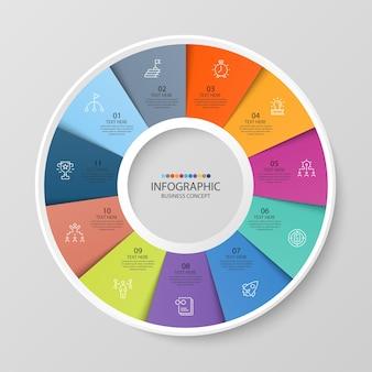 Базовый круговой инфографический шаблон с 11 шагами, процессом или вариантами, диаграммой процесса, используется для схемы процесса, презентаций, макета рабочего процесса, блок-схемы, инфографики. векторная иллюстрация eps10.