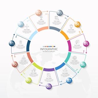 11のステップ、プロセス、またはオプションを備えた基本的なサークルインフォグラフィックテンプレート