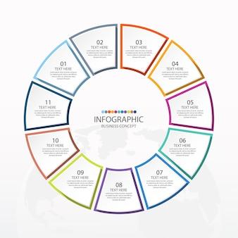 11のステップ、プロセスまたはオプションを備えた基本的なサークルインフォグラフィックテンプレート
