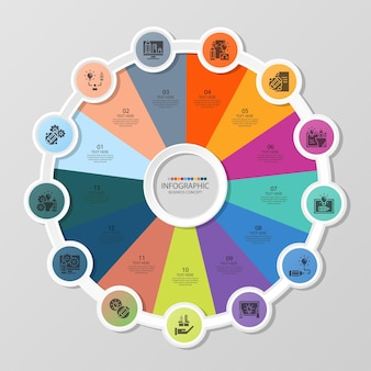 Basic circle infographic template with 13 steps, process or options, process chart, used for process diagram, presentations, workflow layout, flow chart, infograph. vector eps10 illustration.