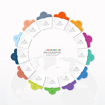 13のステップ、プロセスまたはオプション、プロセスチャートを含む基本的な円のインフォグラフィックテンプレート