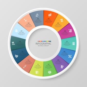 Базовый круговой инфографический шаблон с 14 шагами, процессом или вариантами, диаграммой процесса, используется для схемы процесса, презентаций, макета рабочего процесса, блок-схемы, инфографики. векторная иллюстрация eps10.