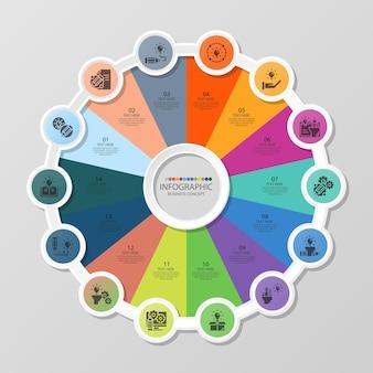 14のステップ、プロセスまたはオプション、プロセスチャート、プロセス図、プレゼンテーション、ワークフローレイアウト、フローチャート、情報グラフに使用される基本的な円のインフォグラフィックテンプレート。ベクトルeps10イラスト。