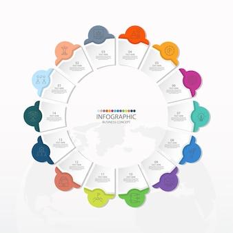14のステップ、プロセスまたはオプション、プロセスチャートを含む基本的な円のインフォグラフィックテンプレート