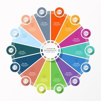 14のステップ、プロセス、またはオプションを備えた基本的なサークルインフォグラフィックテンプレート