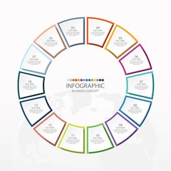 Базовый круговой инфографический шаблон с 14 шагами, процессами или вариантами