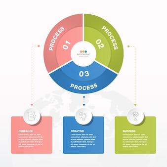 3つのステップ、プロセス、またはオプションを備えた基本的なサークルインフォグラフィックテンプレート