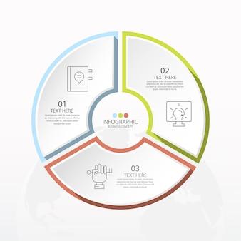 3단계, 프로세스 또는 옵션이 있는 기본 원 인포그래픽 템플릿