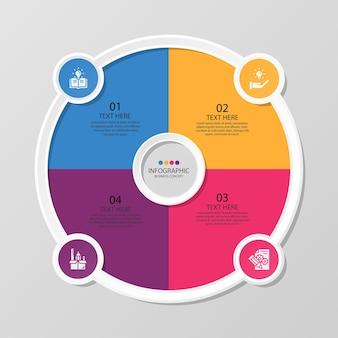 4つのステップ、プロセスまたはオプション、プロセスチャート、プロセス図、プレゼンテーション、ワークフローレイアウト、フローチャート、インフォグラフィックに使用される基本的な円のインフォグラフィックテンプレート。ベクトルeps10イラスト。