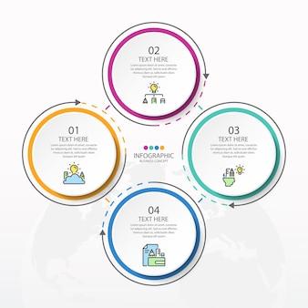 Базовый круговой инфографический шаблон с 4 шагами, процессом или вариантами, диаграммой процесса, используется для схемы процесса, презентаций, макета рабочего процесса, блок-схемы, инфографики. векторная иллюстрация eps10.