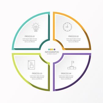 4 단계, 프로세스 또는 옵션, 프로세스 차트가있는 기본 원형 인포 그래픽 템플릿,