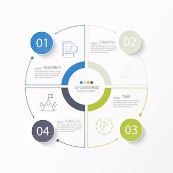 Базовый круговой инфографический шаблон с 4 шагами