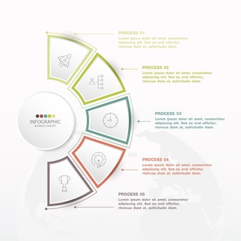 Basic circle infographic template with 5 steps, process or options