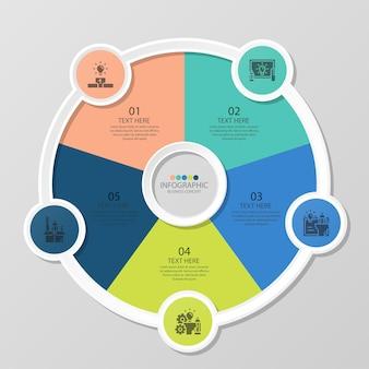 5つのステップ、プロセスまたはオプション、プロセスチャート、プロセス図、プレゼンテーション、ワークフローレイアウト、フローチャート、インフォグラフィックに使用される基本的な円のインフォグラフィックテンプレート。ベクトルeps10イラスト。