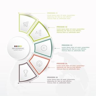 5つのステップ、プロセス、またはオプションを備えた基本的なサークルインフォグラフィックテンプレート