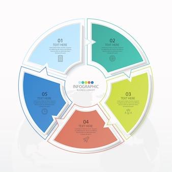 Базовый круговой инфографический шаблон с 5 шагами, процессом или вариантами