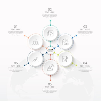 Basic circle infographic template with 6 steps, process or options