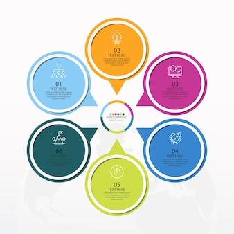 6つのステップ、プロセスまたはオプション、プロセスチャート、プロセス図、プレゼンテーション、ワークフローレイアウト、フローチャート、インフォグラフィックに使用される基本的な円のインフォグラフィックテンプレート。ベクトルeps10イラスト。