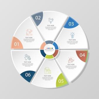 6단계, 프로세스 또는 옵션, 프로세스 차트가 있는 기본 원형 인포그래픽 템플릿, 프로세스 다이어그램, 프레젠테이션, 워크플로 레이아웃, 순서도, 인포그래프에 사용됩니다. 벡터 eps10 일러스트입니다.