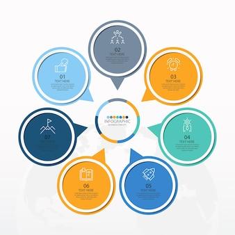 7つのステップ、プロセスまたはオプション、プロセスチャート、プロセス図、プレゼンテーション、ワークフローレイアウト、フローチャート、インフォグラフィックに使用される基本的な円のインフォグラフィックテンプレート。ベクトルeps10イラスト。