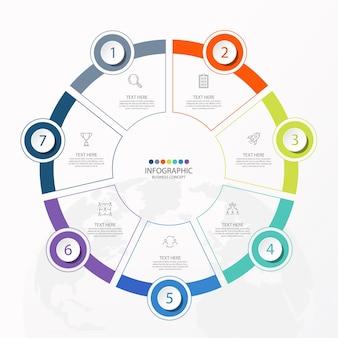 7 단계, 프로세스 또는 옵션, 프로세스 차트가있는 기본 원형 인포 그래픽 템플릿.