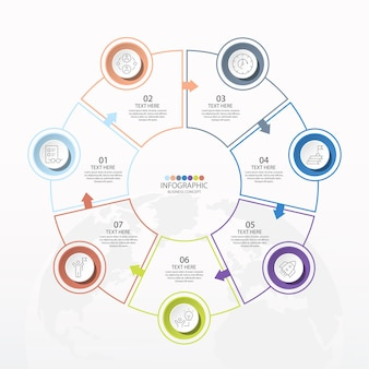 7 단계, 프로세스 또는 옵션, 프로세스 차트가있는 기본 원형 인포 그래픽 템플릿