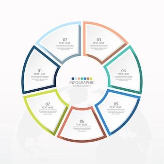 Базовый круговой инфографический шаблон с 7 шагами, процессами или вариантами