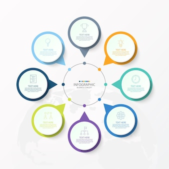 Basic circle infographic template with 8 steps, process or options, process chart