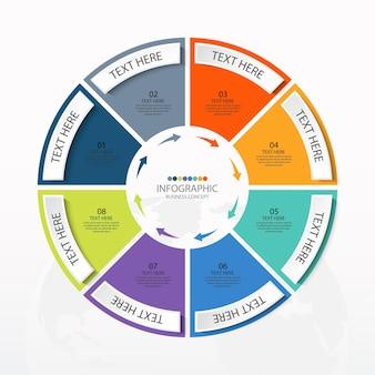 Базовый круговой инфографический шаблон с 8 шагами, процессом или вариантами, диаграммой процесса, используется для схемы процесса, презентаций, макета рабочего процесса, блок-схемы, инфографики. векторная иллюстрация eps10.
