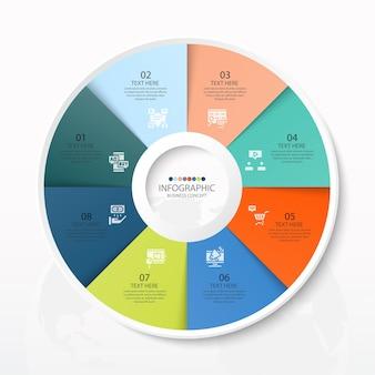 8つのステップ、プロセスまたはオプション、プロセスチャート、プロセス図、プレゼンテーション、ワークフローレイアウト、フローチャート、インフォグラフィックに使用される基本的な円のインフォグラフィックテンプレート。ベクトルeps10イラスト。