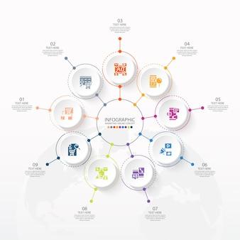 9つのステップ、プロセスまたはオプション、プロセスチャート、プロセス図、プレゼンテーション、ワークフローレイアウト、フローチャート、情報グラフに使用される基本的な円のインフォグラフィックテンプレート。ベクトルeps10イラスト。