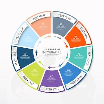 9つのステップ、プロセスまたはオプション、プロセスチャート、プロセス図、プレゼンテーション、ワークフローレイアウト、フローチャート、インフォグラフィックに使用される基本的な円のインフォグラフィックテンプレート。ベクトルeps10イラスト。