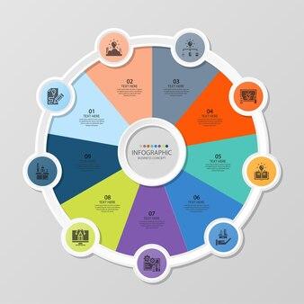Базовый круговой инфографический шаблон с 9 шагами, процессом или вариантами, диаграммой процесса, используется для схемы процесса, презентаций, макета рабочего процесса, блок-схемы, инфографики. векторная иллюстрация eps10.