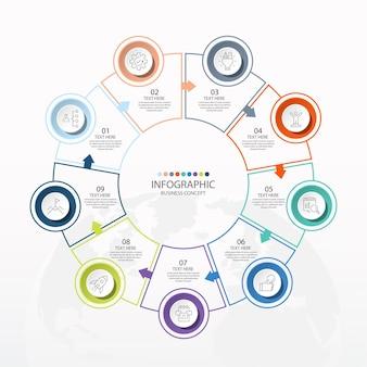 9つのステップ、プロセスまたはオプション、プロセスチャートを含む基本的な円のインフォグラフィックテンプレート