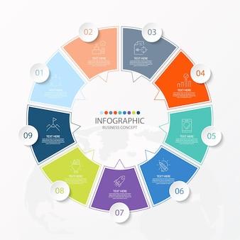 9つのステップ、プロセス、またはオプションを備えた基本的なサークルインフォグラフィックテンプレート
