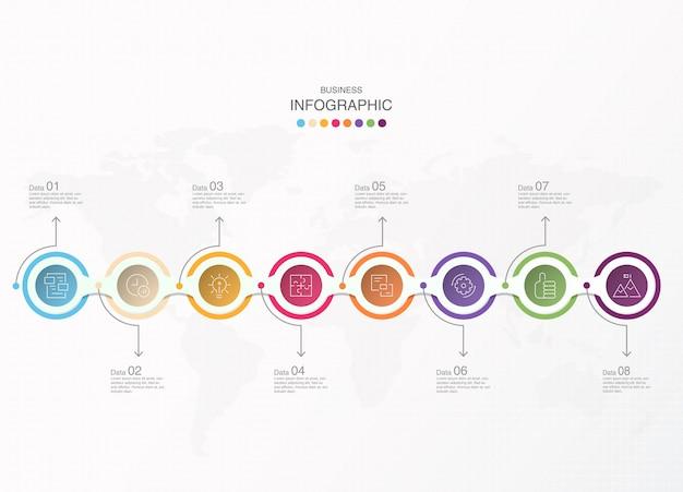 現在のビジネスコンセプトの基本的なサークルインフォグラフィック。