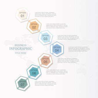 Basic color infographic hexagon 7 option or steps and icons for business concept.