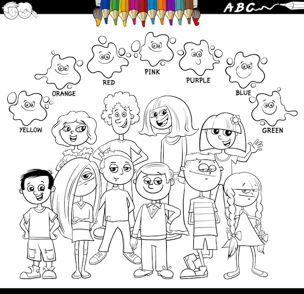 Basic colors coloring book with kids