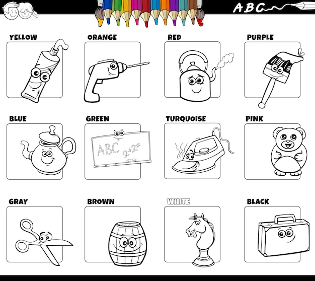Basic colors with objects set coloring book page