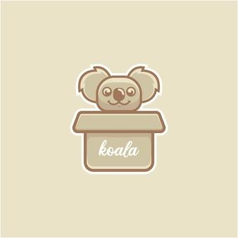 Basic cute koala playing on cardboard illustration