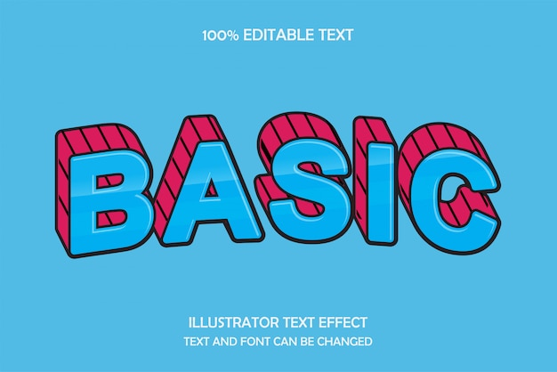 Basic, editable text effect,blue red wrap line style