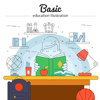 Basic education colored concept in linear style with child does his homework