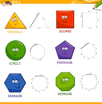 Basic geometric shapes drawing workbook