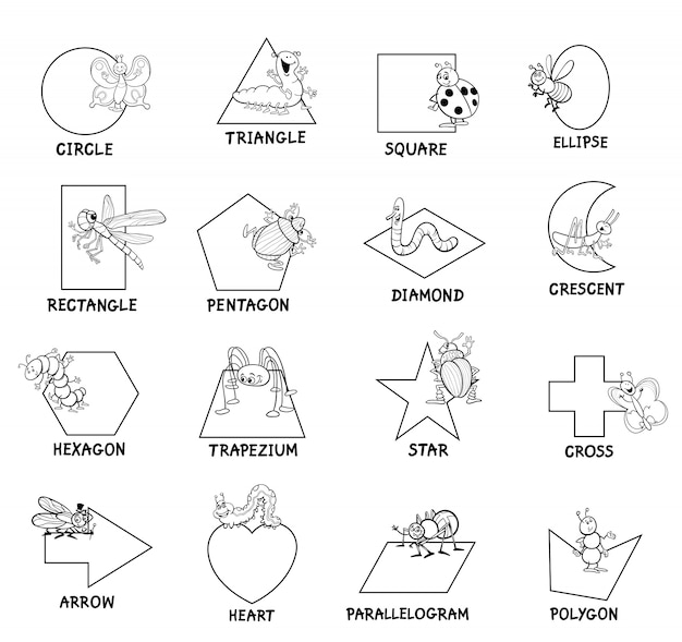 Basic geometric shapes with captions for children